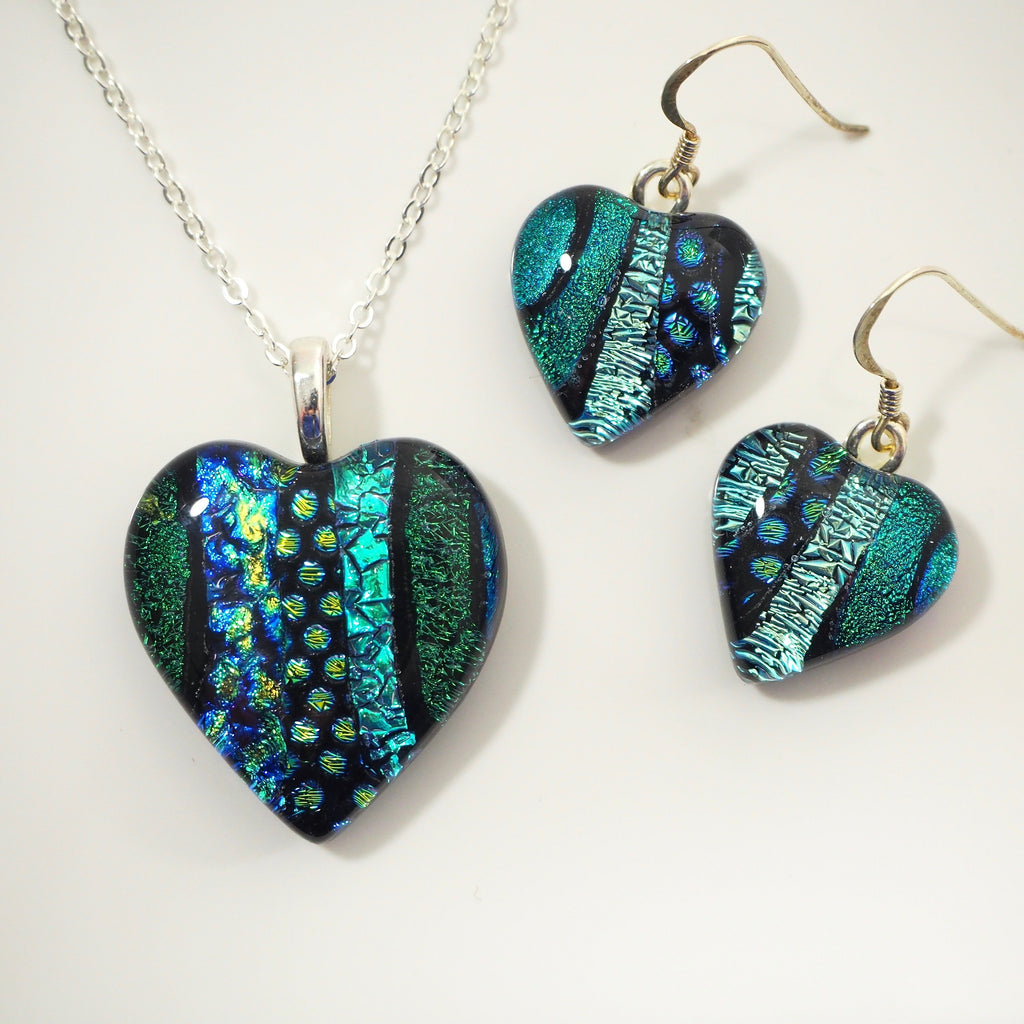 Heart necklace and earrings in blue teal and green - Fired Creations