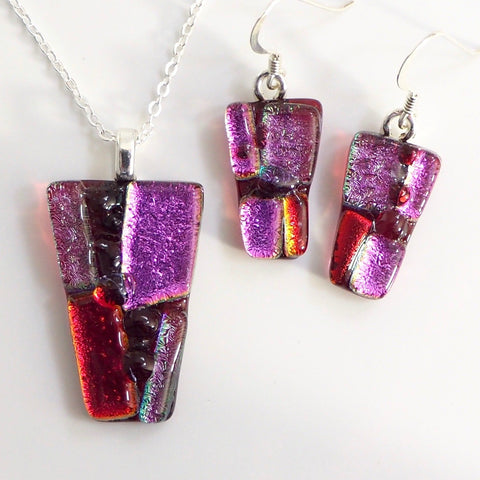 Hot pink fused dichroic glass pendant and earrings jewellery set - Fired Creations