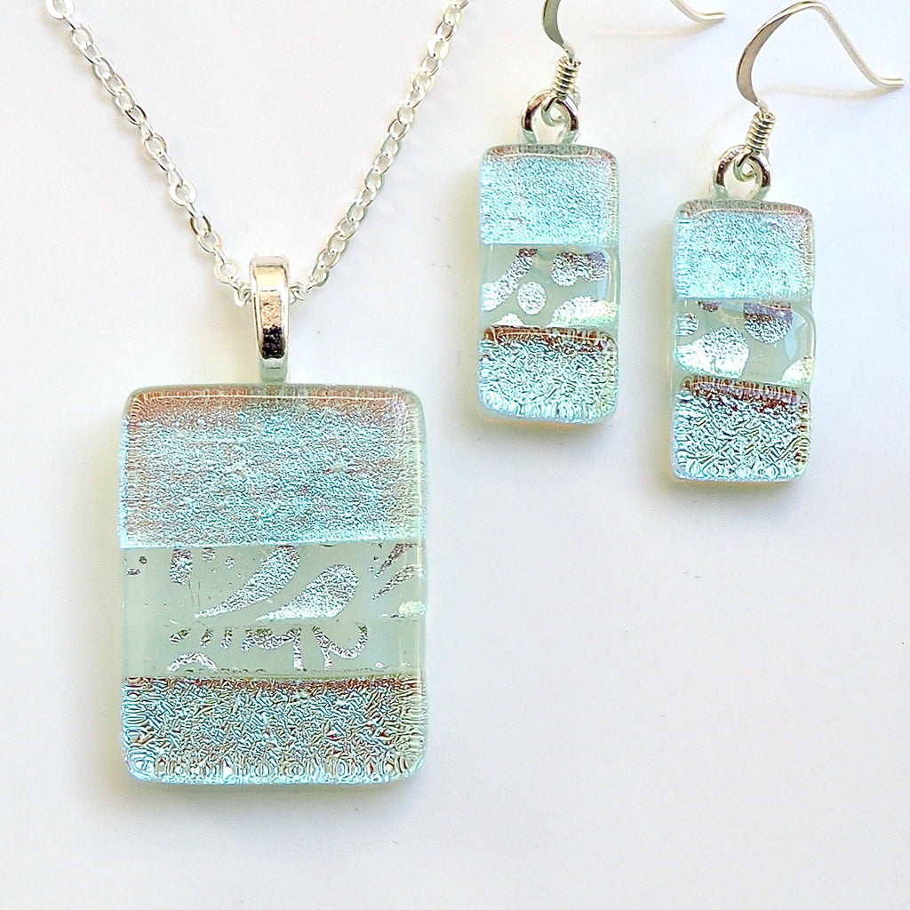 Ice blue fused dichroic glass pendant and earrings jewellery set - Fired Creations
