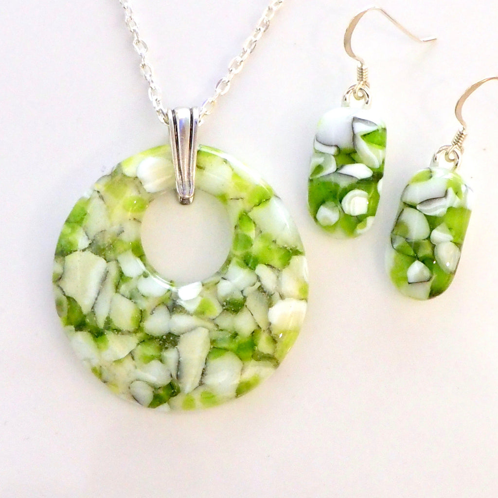 Sets - Lime Green And White Stone Effect Glass Pendant And Earrings Jewellery Set