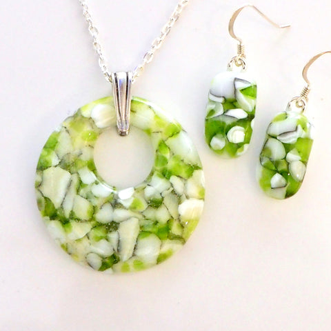 Lime green and white stone effect glass pendant and earrings jewellery set - Fired Creations