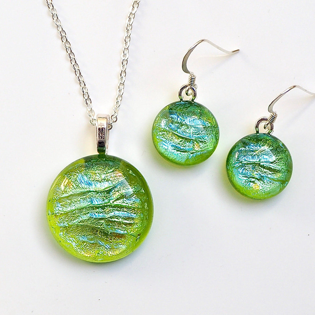 Lime green fused dichroic glass pendant and earrings jewellery set - Fired Creations
