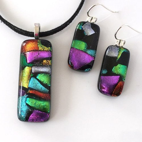 Multicolour fused dichroic glass pendant and earrings set - Fired Creations
