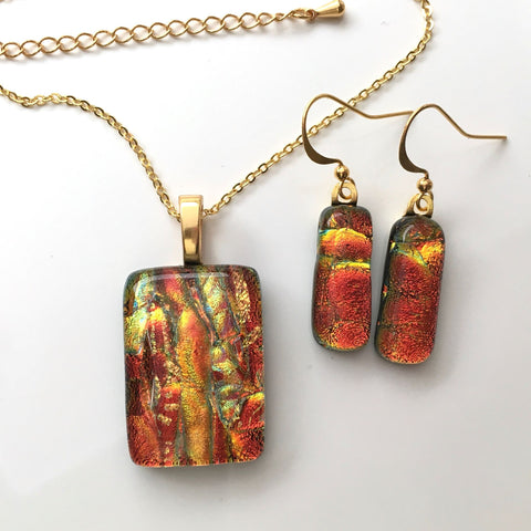 Orange gold fused dichroic glass necklace and earrings jewellery set - Fired Creations