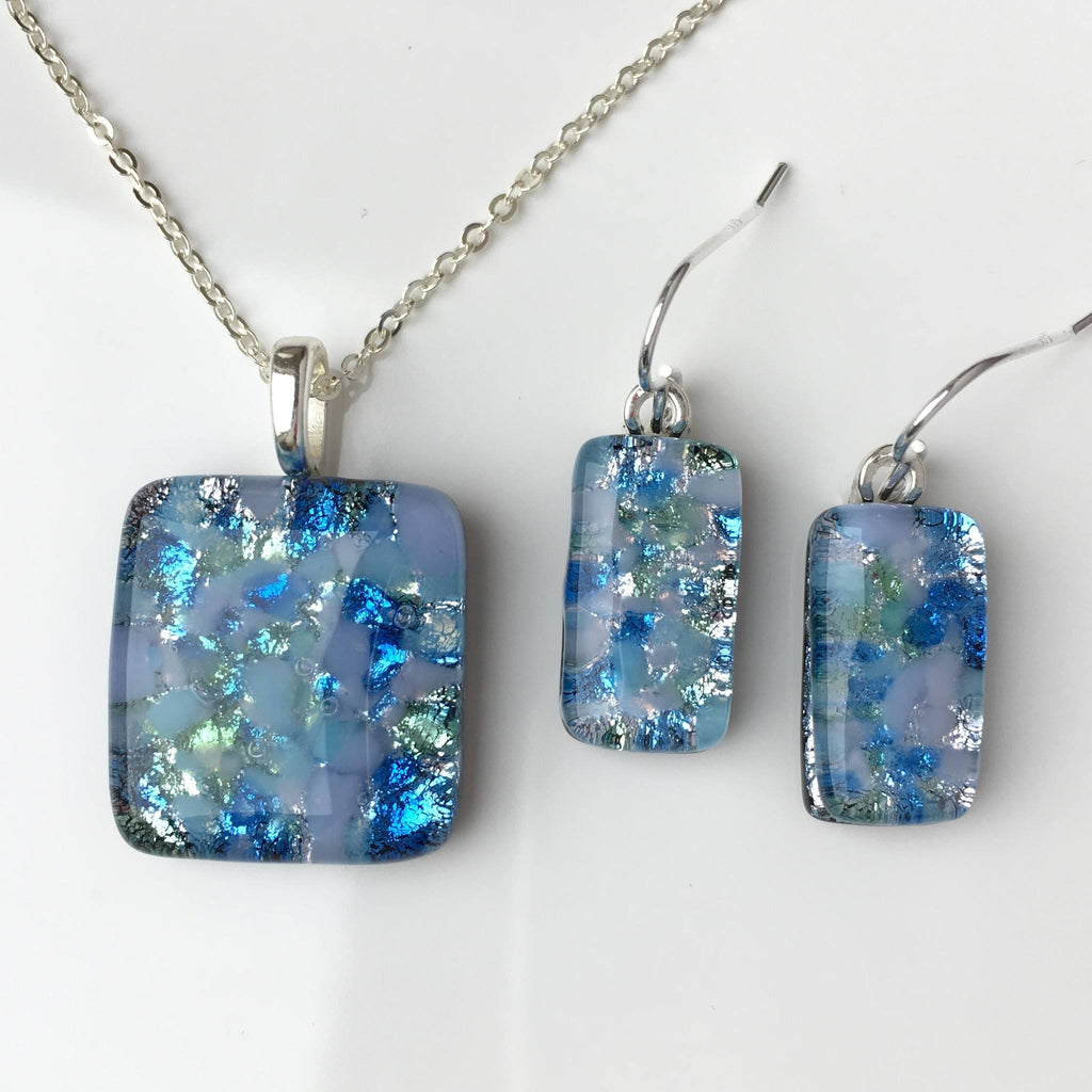 Sets - Pastel Blue Fused Dichroic Glass Necklace And Earrings Jewellery Set