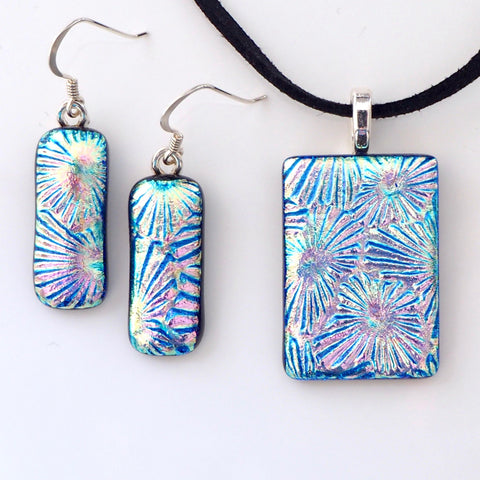 Pastel dichroic glass pendant and earrings jewellery set - Fired Creations