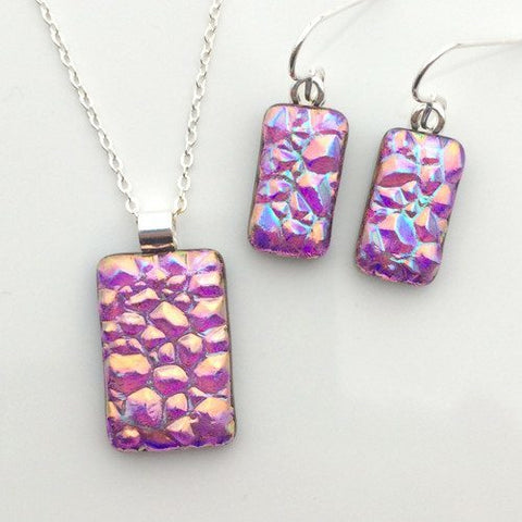 Pink coral and purple fused dichroic glass pendant and earrings set - Fired Creations