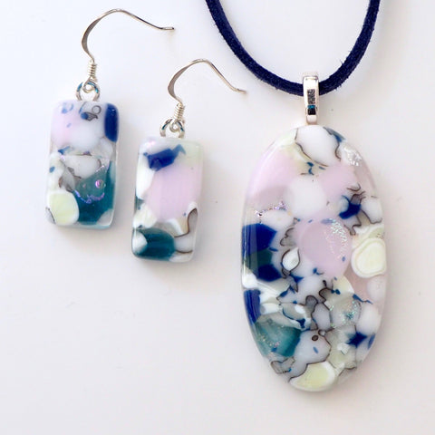 Pink navy and stone glass pendant and earrings jewellery set - Fired Creations