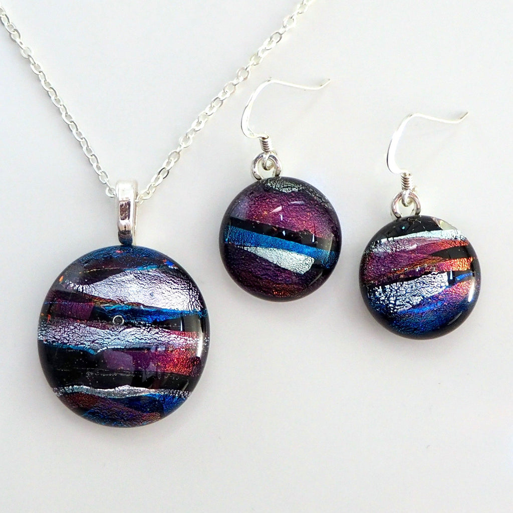 Sets - Purple Silver And Teal Fused Dichroic Glass Pendant And Earrings Jewellery Set