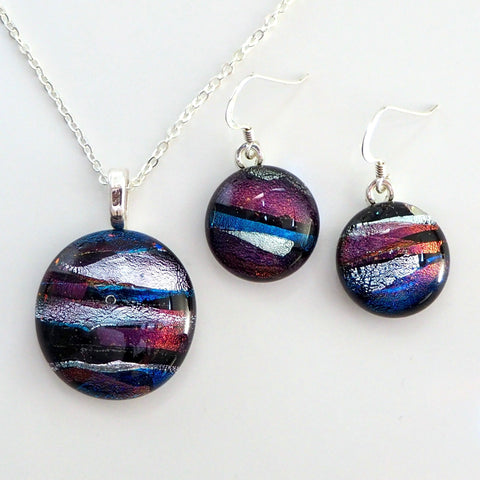 Purple silver and teal fused dichroic glass pendant and earrings jewellery set - Fired Creations