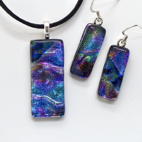 Sets - Purple Teal Fused Dichroic Glass Necklace And Earrings Jewellery Set