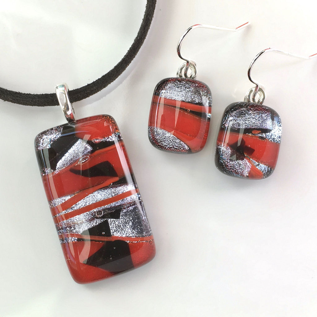 Sets - Red Black And Silver Fused Dichroic Glass Necklace And Earrings Set