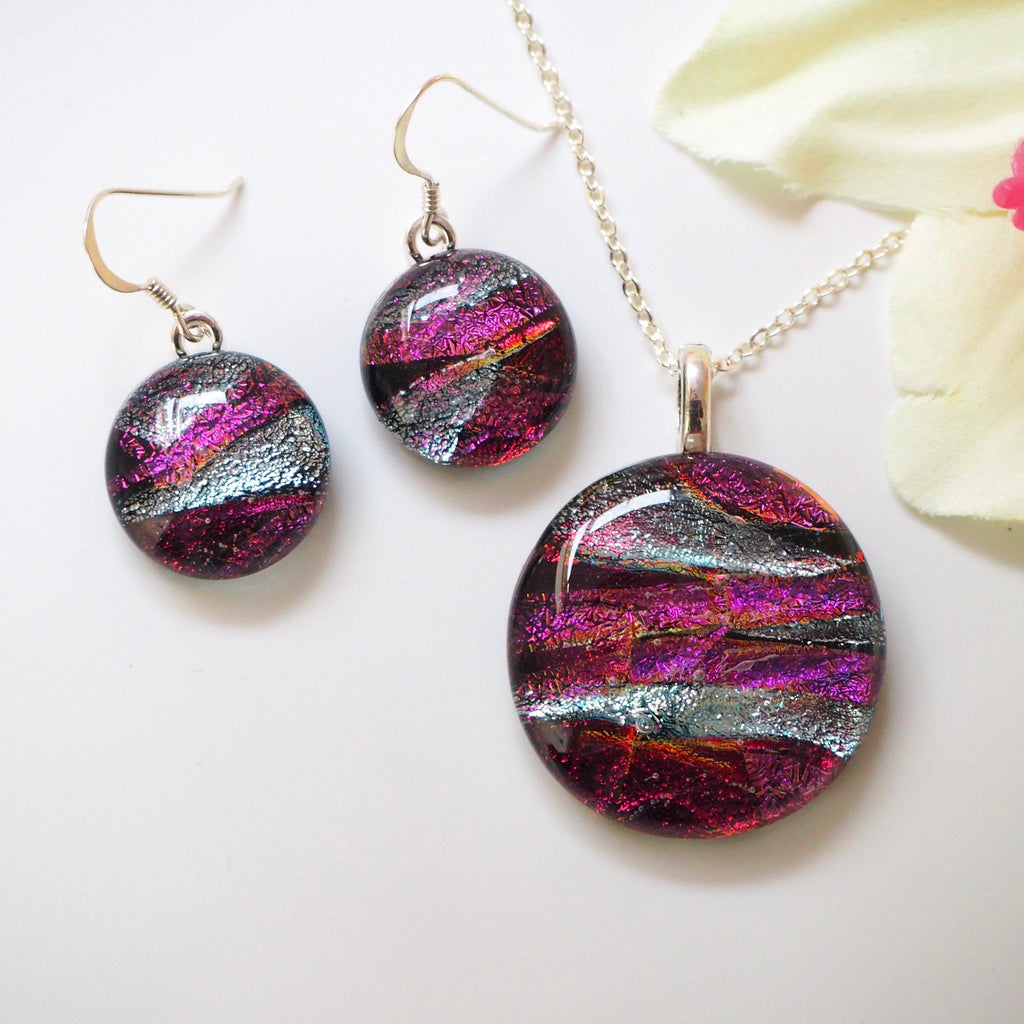 Red copper silver fused dichroic glass pendant and earrings jewellery set - Fired Creations