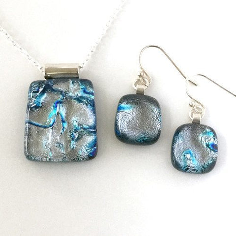 Silver blue ripple fused dichroic glass pendant and earrings jewellery set - Fired Creations