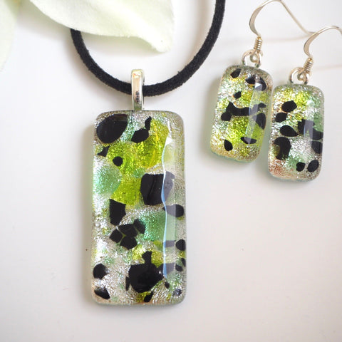 Silver, lime green and black fused dichroic glass pendant and earrings jewellery set - Fired Creations