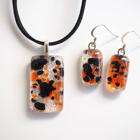 Silver, orange and black fused dichroic glass pendant and earrings jewellery set - Fired Creations