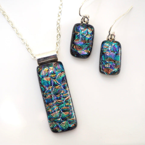 Teal fused dichroic glass pendant and earrings set - Fired Creations