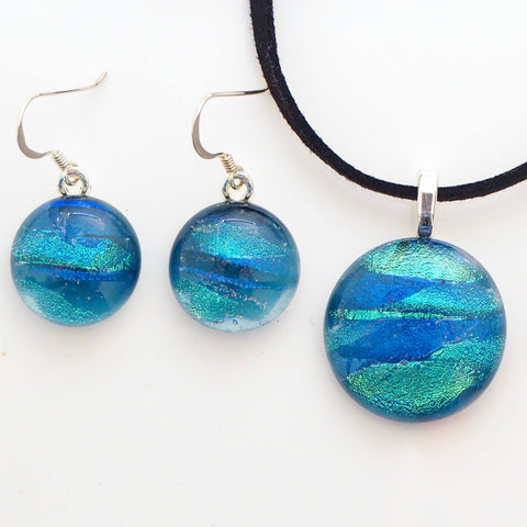 Sets - Teal Turquoise Fused Dichroic Glass Pendant And Earrings Jewellery Set