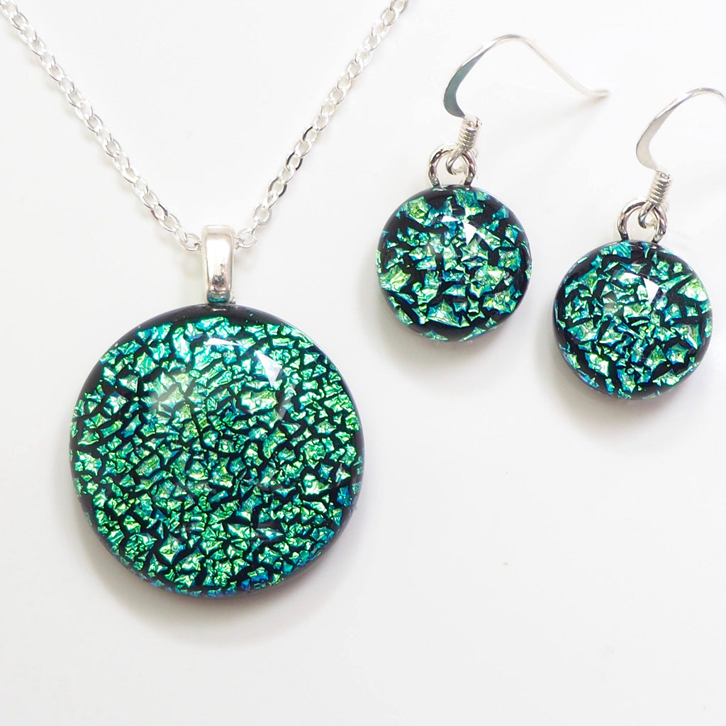 Turquoise fused dichroic glass necklace and earrings jewellery set - Fired Creations