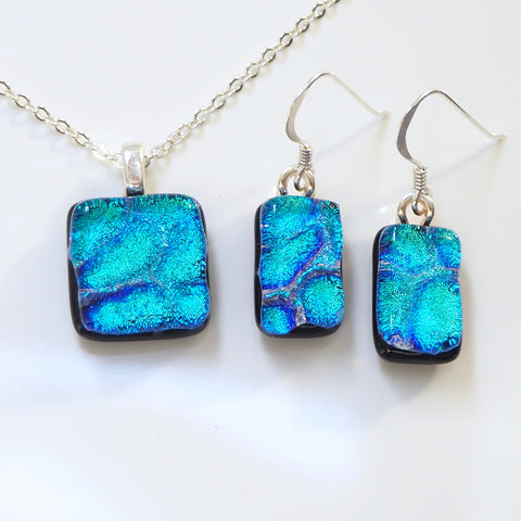 Turquoise fused dichroic glass pendant and earrings jewellery set - Fired Creations