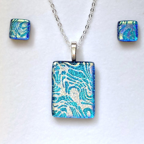 Sets - Turquoise Fused Dichroic Glass Pendant And Stud Earrings Jewellery Set