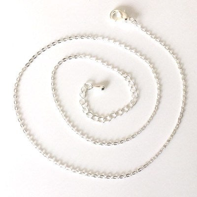"Silver plated trace chain with a 2 1/4"" extender. - Fired Creations"
