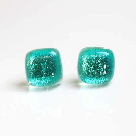 Aqua blue fused dichroic glass stud earrings - Fired Creations