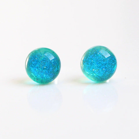 Aqua dichroic glass stud earrings - Fired Creations