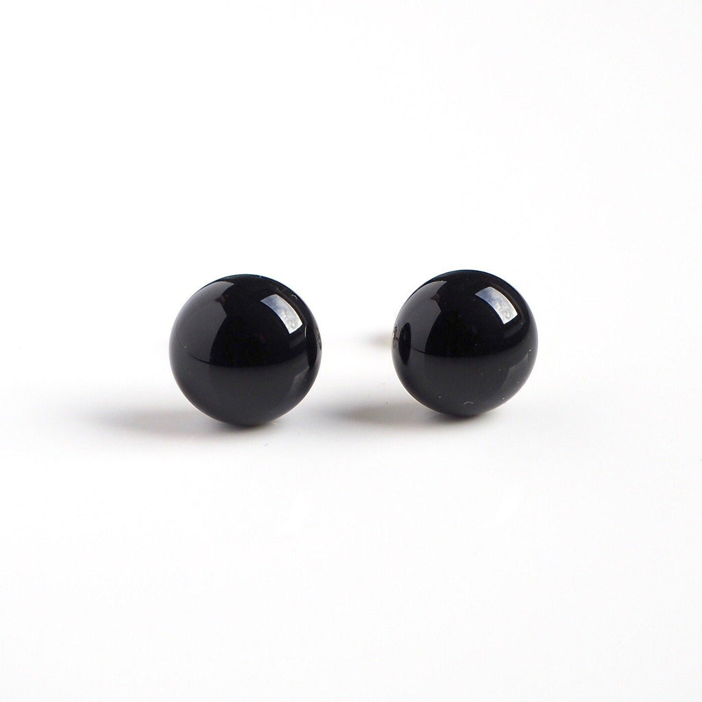 Black glass stud earrings - Fired Creations