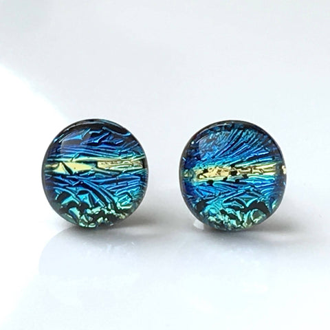 Studs - Blue And Gold Fused Dichroic Glass Earrings
