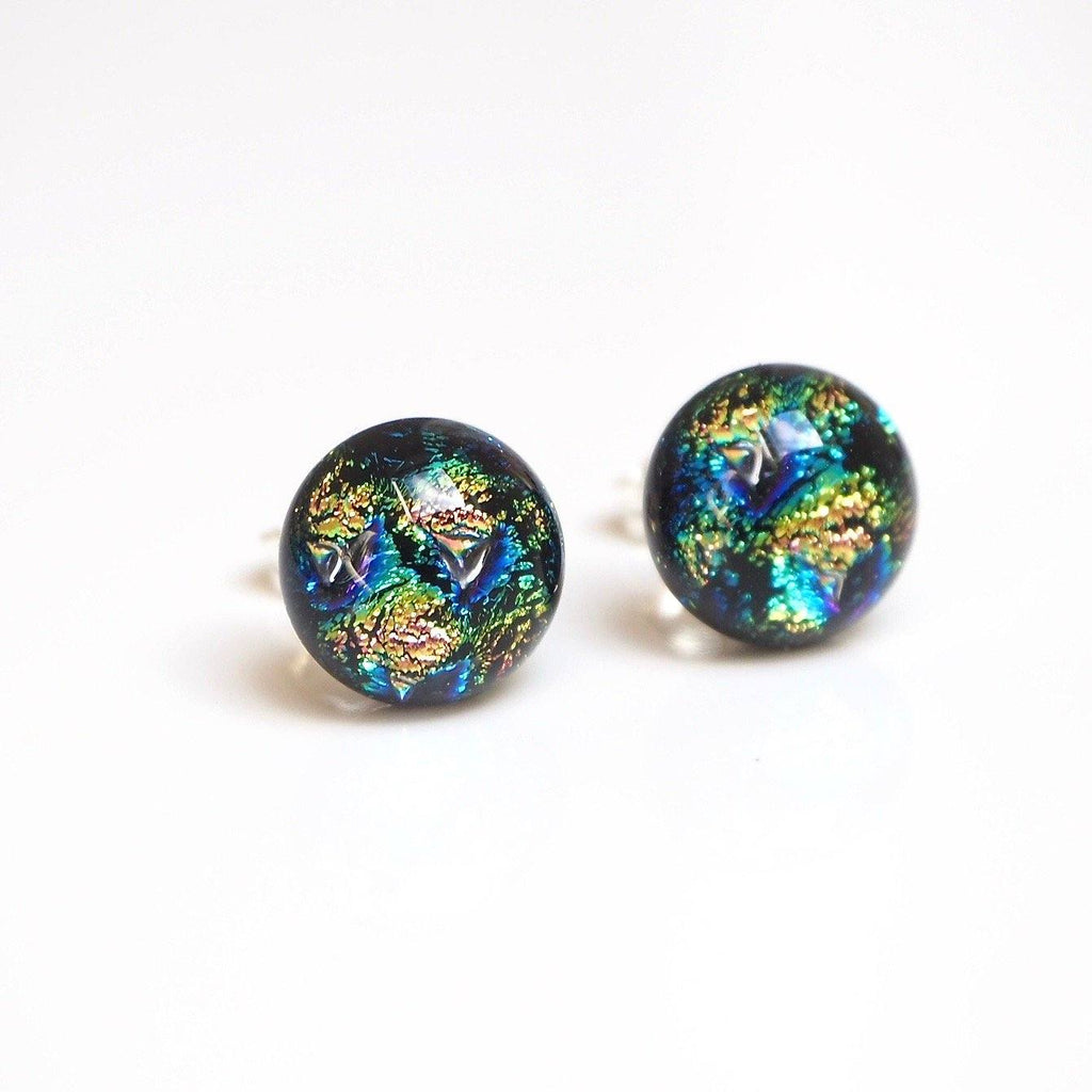 Studs - Blue And Gold Fused Dichroic Glass Stud Earrings