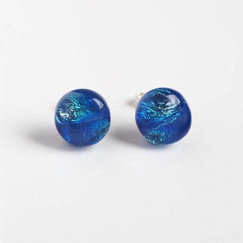Studs - Blue And Silver Dichroic Glass Stud Earrings