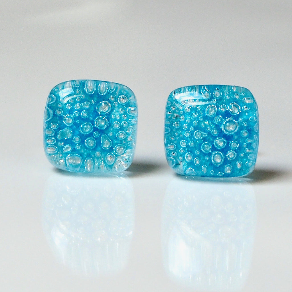 Blue bubble fused dichroic glass stud earrings - Fired Creations