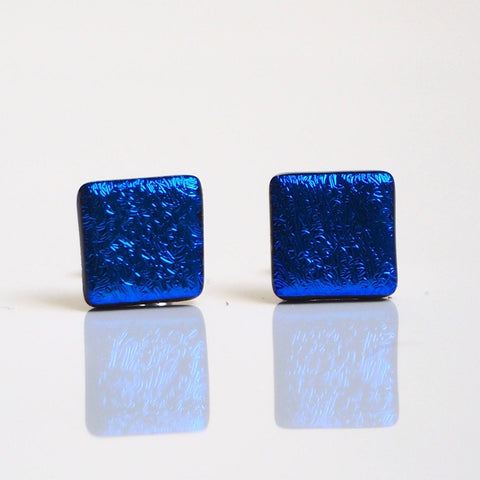 Blue dichroic glass stud earrings - Fired Creations