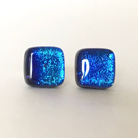 Studs - Blue Fused Dichroic Glass Earrings