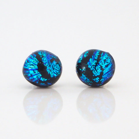 Blue fused dichroic glass stud earrings - Fired Creations