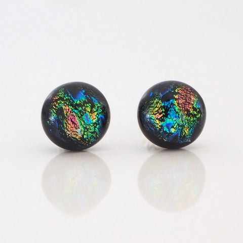 Blue pink green fused dichroic glass stud earrings - Fired Creations