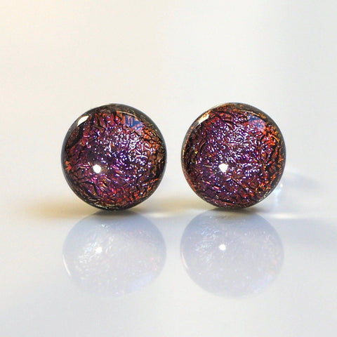 Copper purple dichroic glass stud earrings - Fired Creations