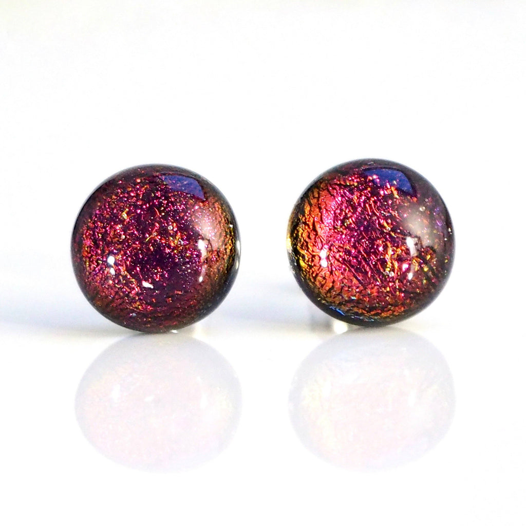 Studs - Copper Red Fused Dichroic Glass Stud Earrings
