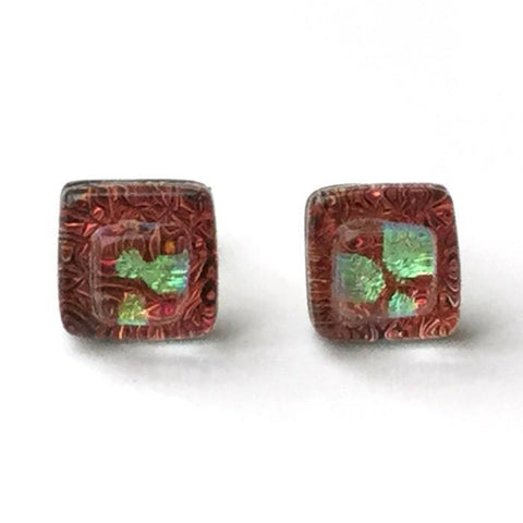 Copper red fused dichroic glass stud earrings - Fired Creations