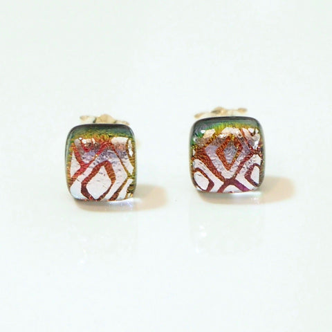 Coral pink and silver dichroic glass stud earrings - Fired Creations
