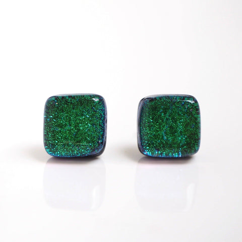 Dichroic glass stud earrings - emerald green - Fired Creations