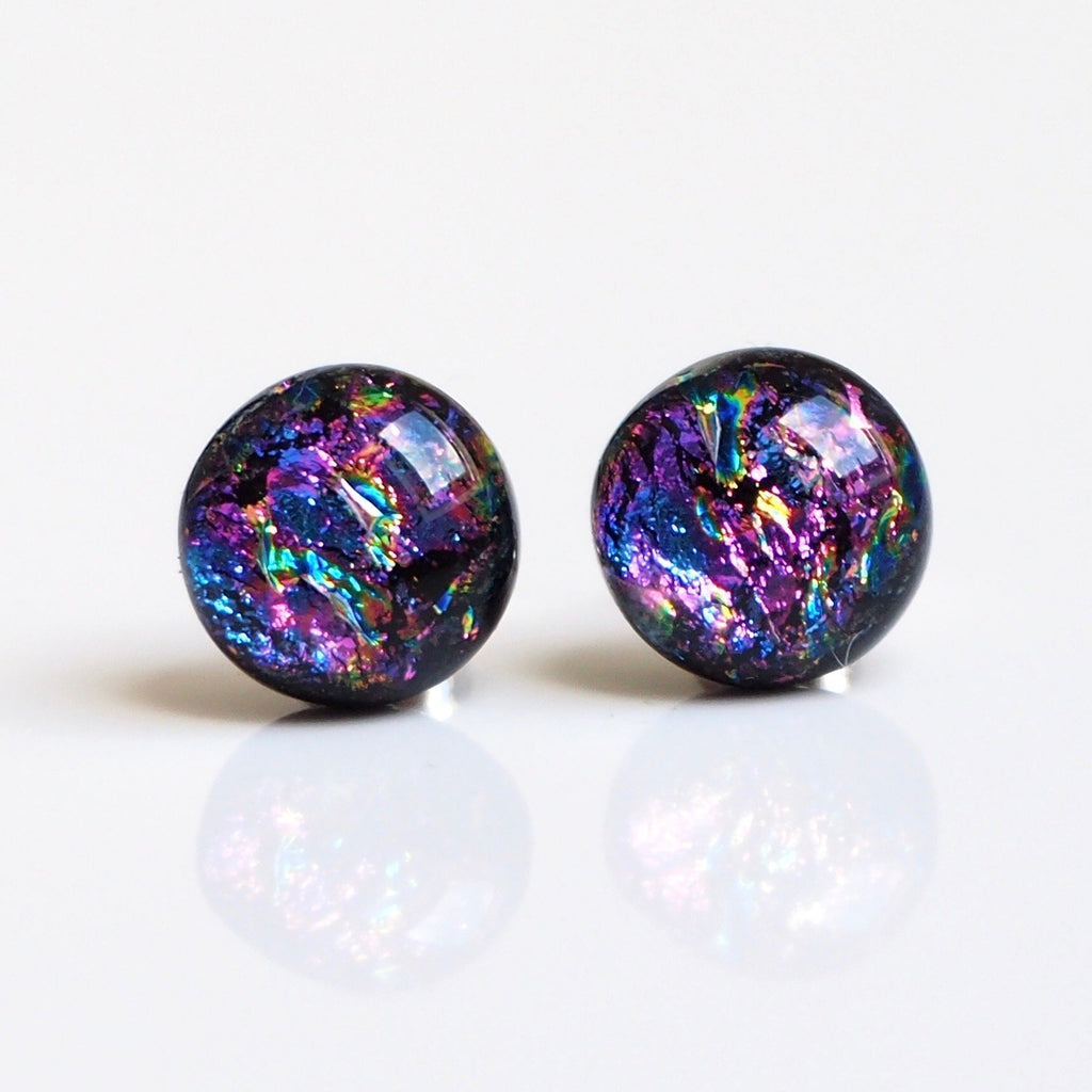 Dichroic glass stud earrings pink and purple - Fired Creations