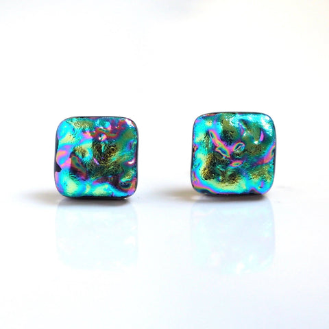 Dichroic glass stud earrings - turquoise and pink - Fired Creations