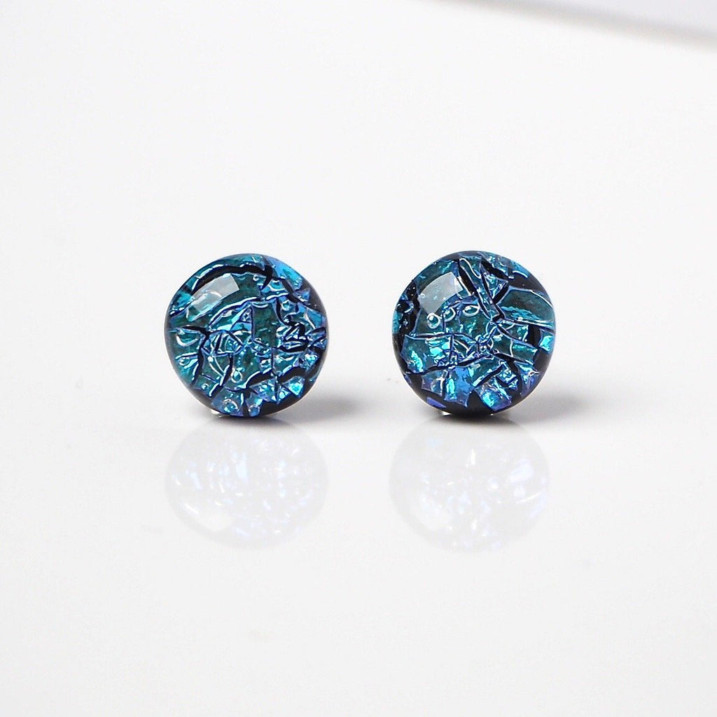 Dichroic glass stud earrings - turquoise crinkle - Fired Creations