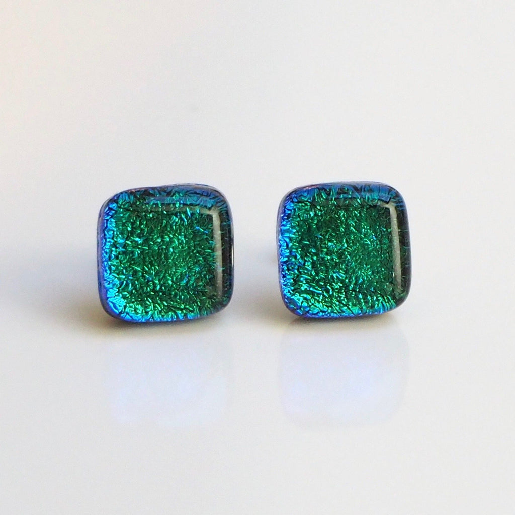 Emerald green dichroic glass stud earrings - Fired Creations