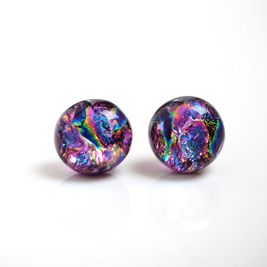 Fused dichroic glass stud earrings in pink blue and gold - Fired Creations