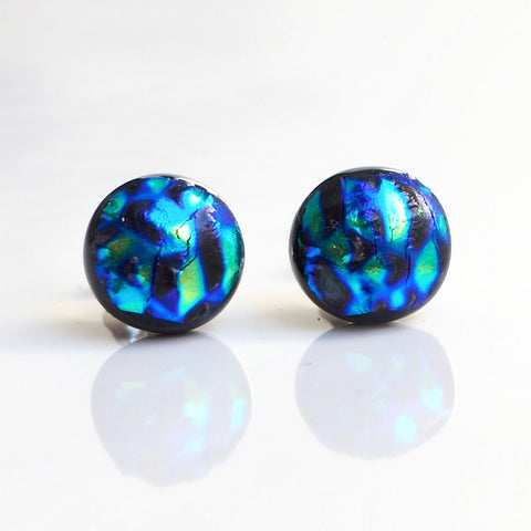 Glass stud earrings - blue and green - Fired Creations