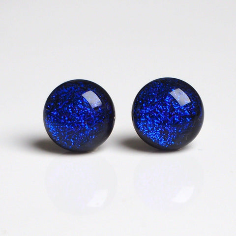 Glass stud earrings - royal blue - Fired Creations