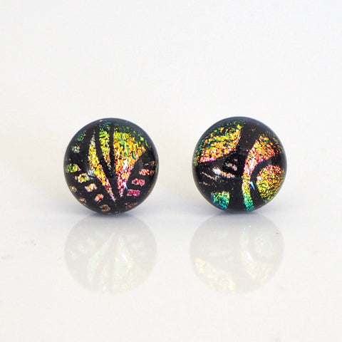 Gold and salmon pink fused dichroic glass stud earrings - Fired Creations